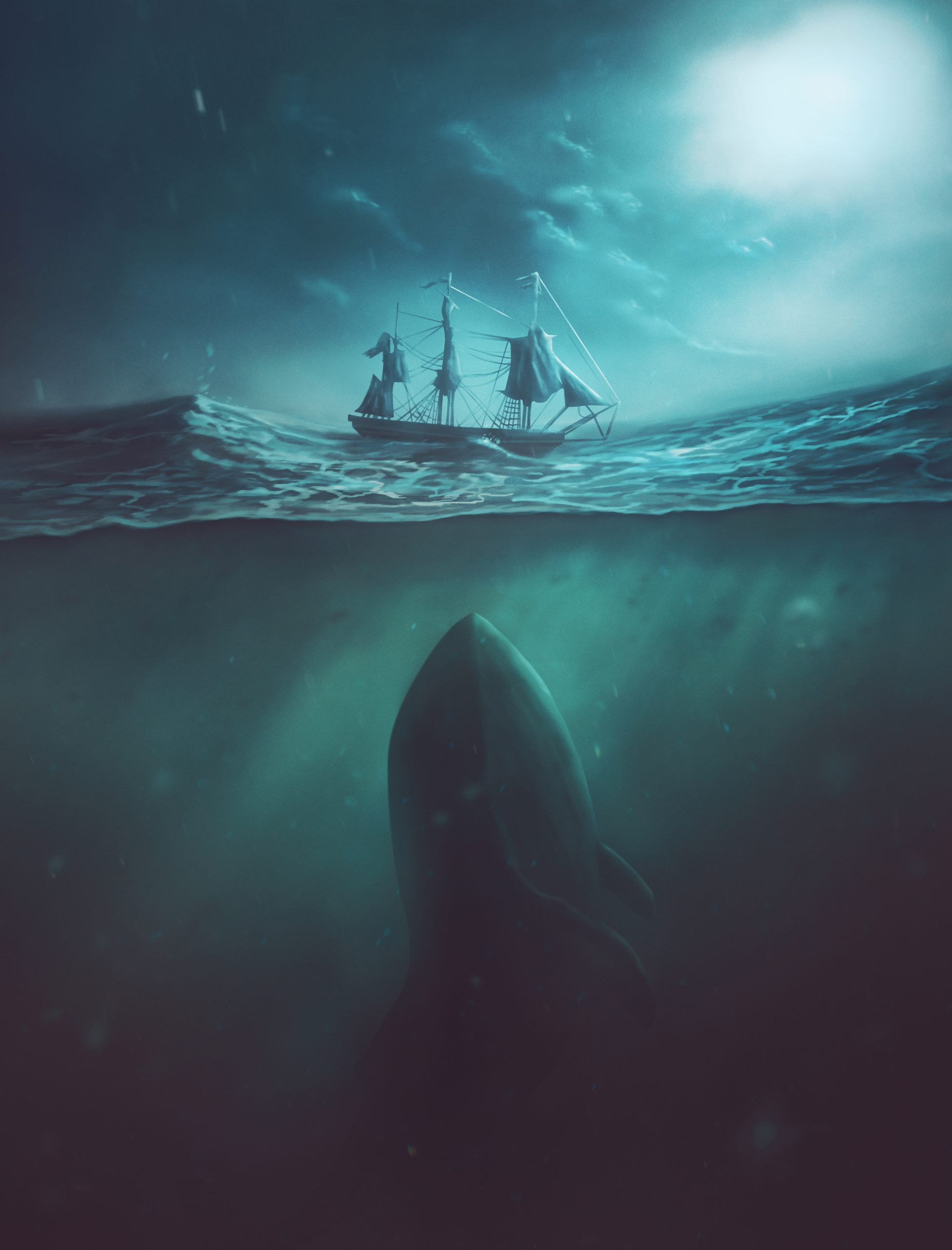 A digital painting of a large whale underneath the waters below a boat.
