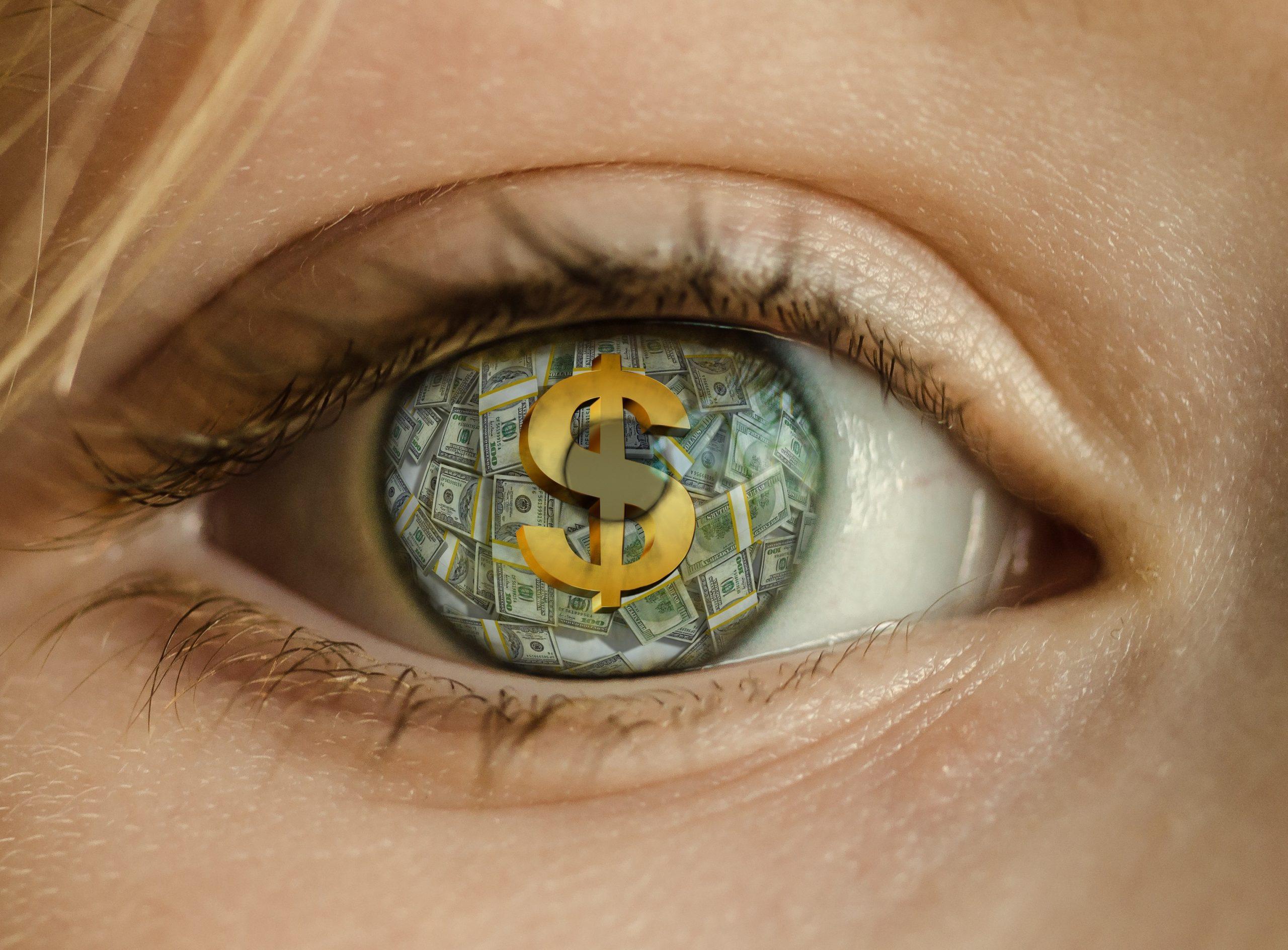 money, eye, dollar
